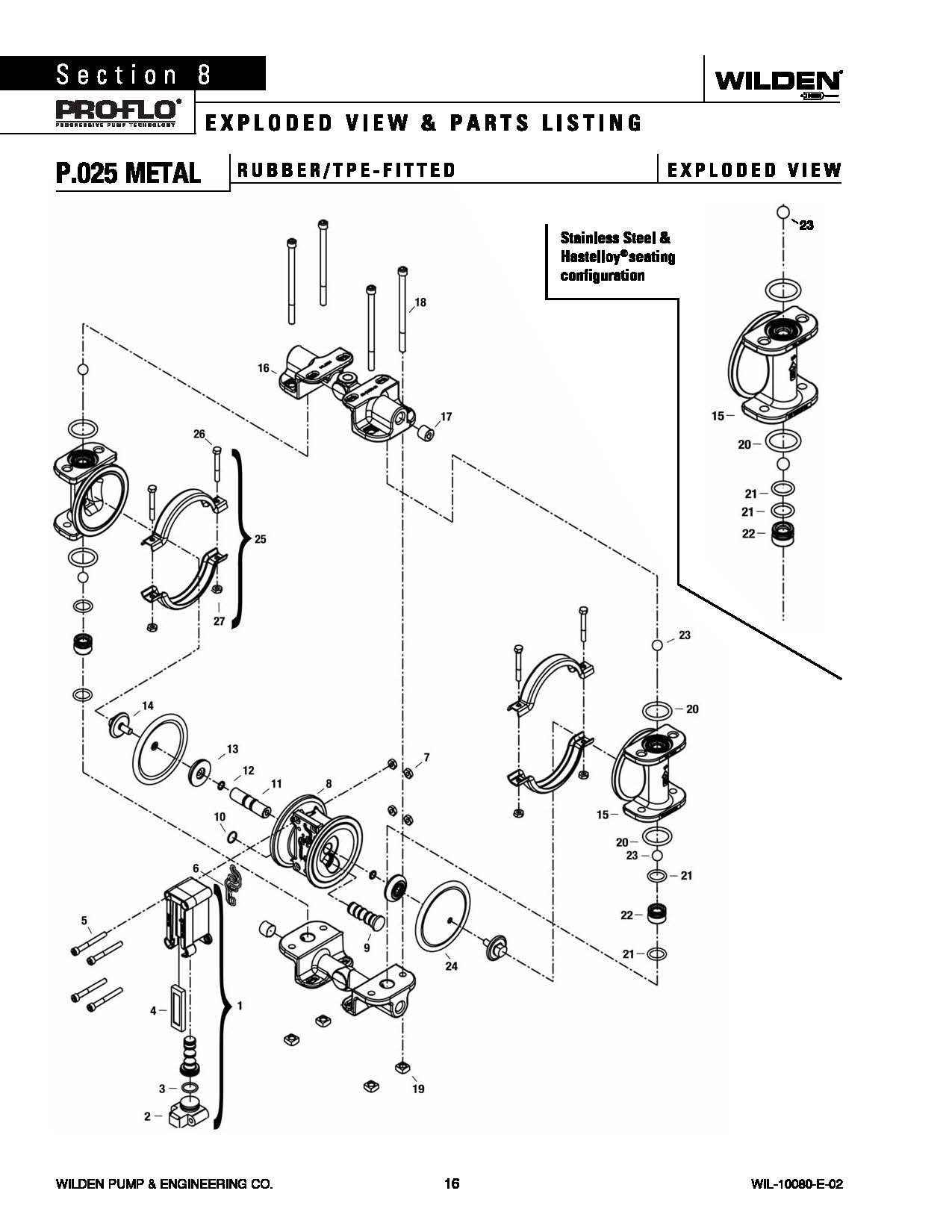 Wilden P 025 Original Metal Rubber Tpe
