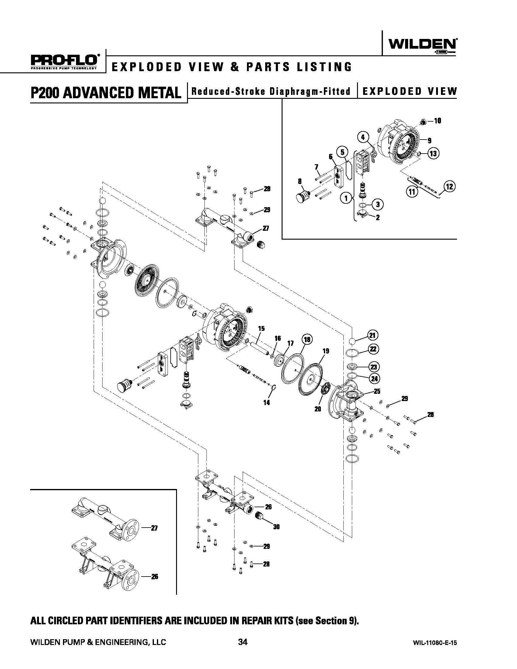 Wilden P200 Advanced Metal Reduced Stroke Exploded View