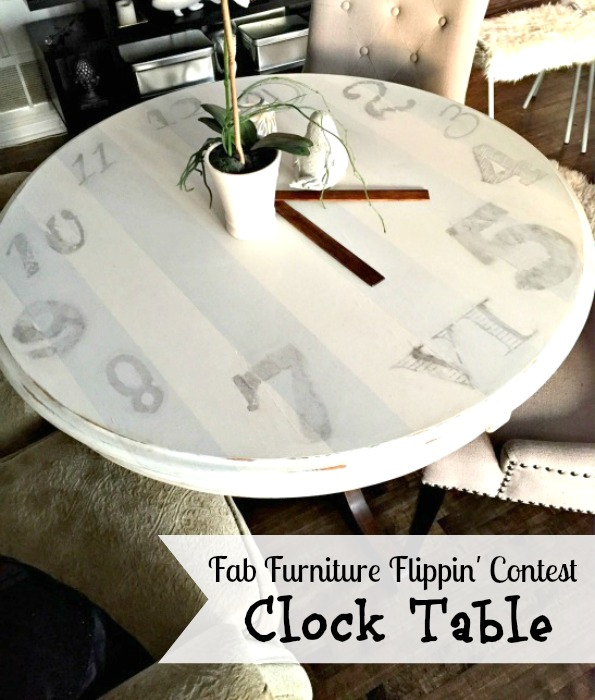 Clock Table upcycle / how to turn a table into a clock / vintage style table / image transfer to table / apurdylittlehouse.com