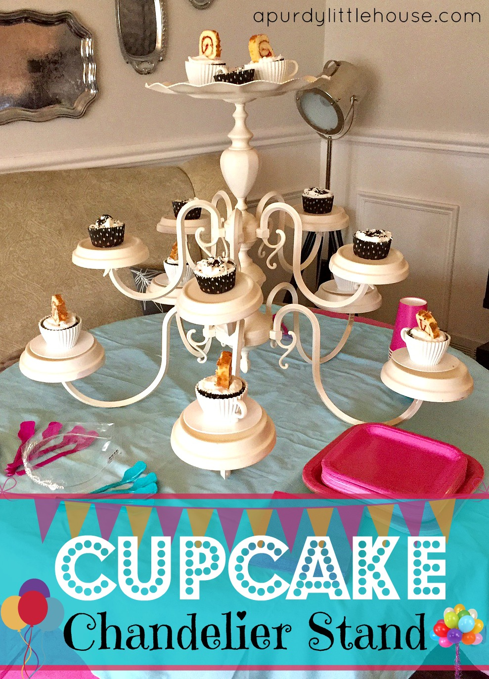 Chandelier cupcake stand a purdy little house how to make a chandelier cupcake stand girls spa party chandelier cupcake stand arubaitofo Image collections