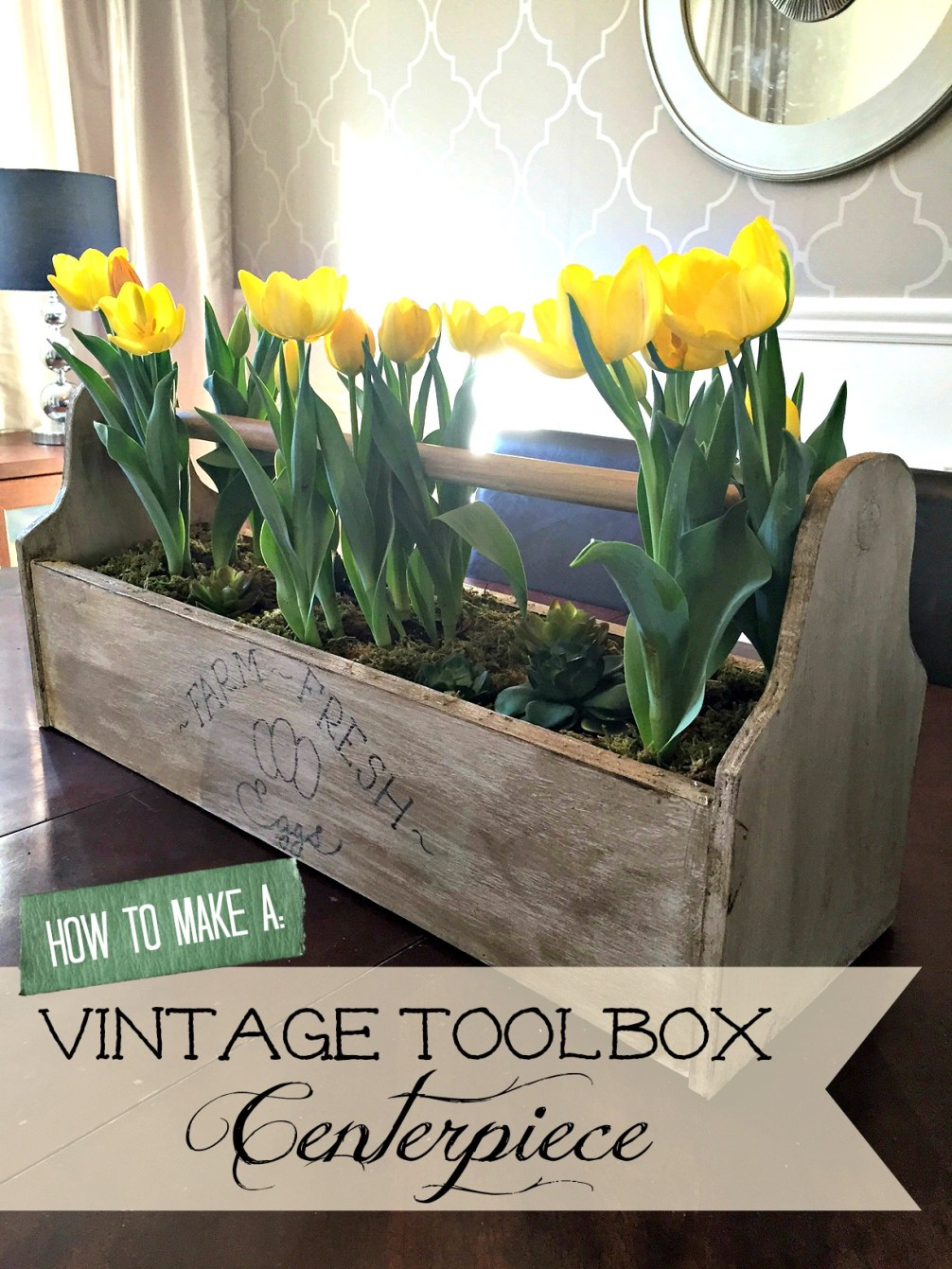 How to Make a Vintage Toolbox Centerpiece for Easter or spring with a Fixer Upper Style Farmhouse Vintage Toolbox apurdylittlehouse.com