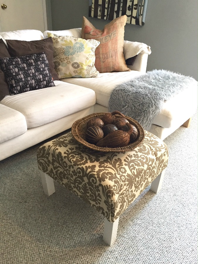 DIY Ottoman Coffee Table Ikea Hack How to turn a plain old end table into a