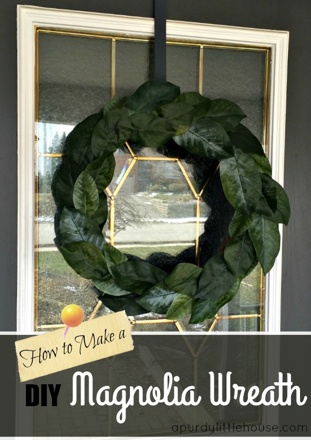 Magnolia Leaf Wreath for Spring Decor How to Make a DIY Magnolia Wreath using faux leaves apurdylittlehouse.com