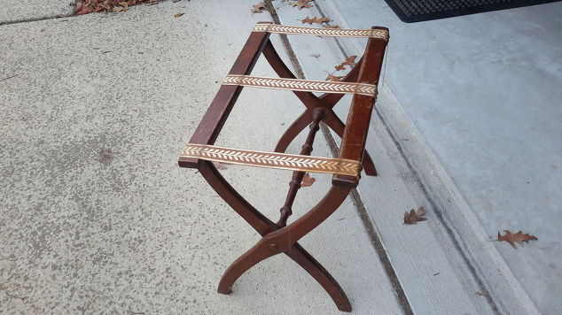 March Furniture Flip Challenge - #30DayFlip Round-Up Furniture Upcycle / folding-luggage-Furniture Upcycle Luggage rack-to-rustic-herringbone-side-table-30dayflip-diy-how-to-painted-furniture #30dayflip