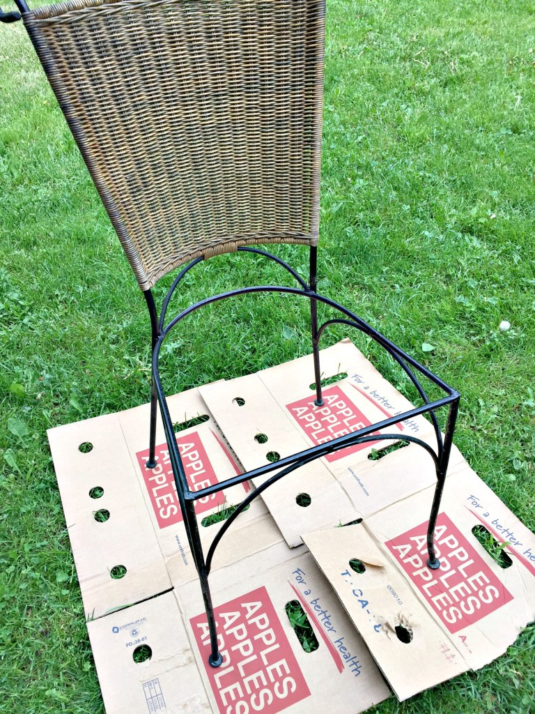 Bistro Set Upcycle. I transformed these two curbside chairs into cute upholstered bistro chairs for my garden on apurdylittlehouse.com