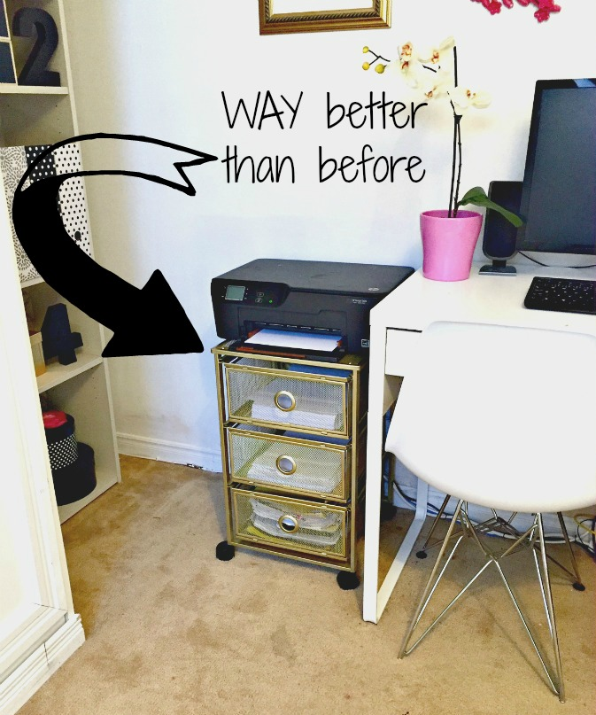 How to Transform or Upcyle a Metal Storage Cart into a Stylish Printer Stand that can also double as paper and craft storage using only spray paing apurdylittlehouse.com