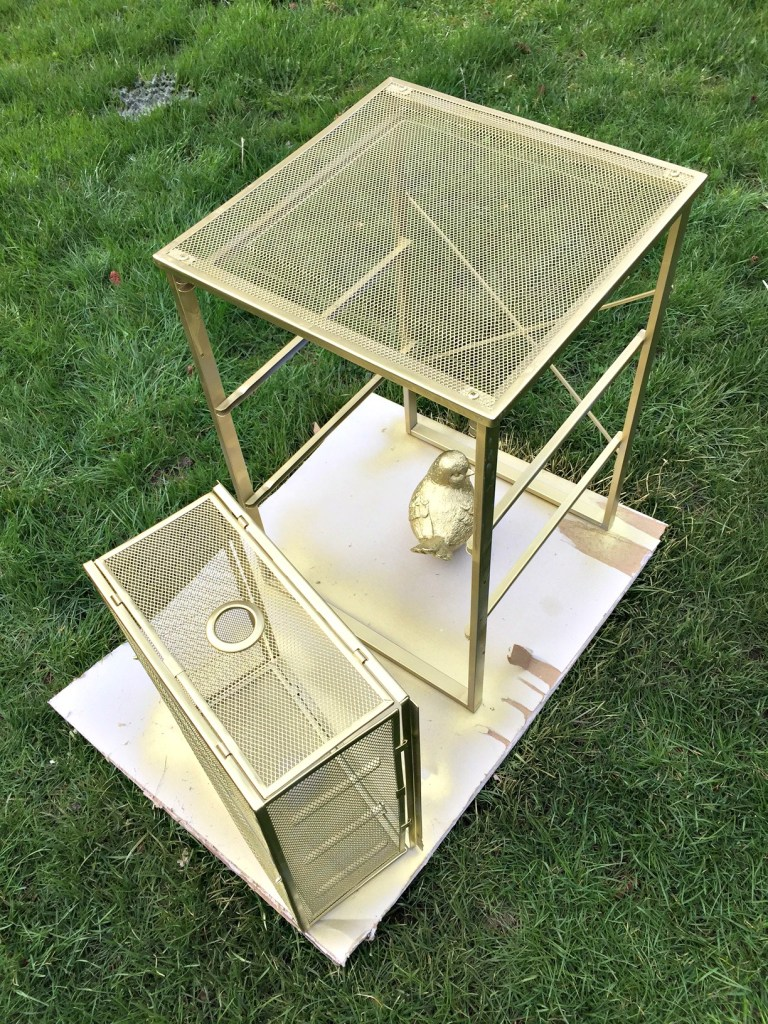 How to Transform or Upcyle a Metal Storage Cart into a Stylish Printer Stand that can also double as paper and craft storage How to spray paint metal apurdylittlehouse.com