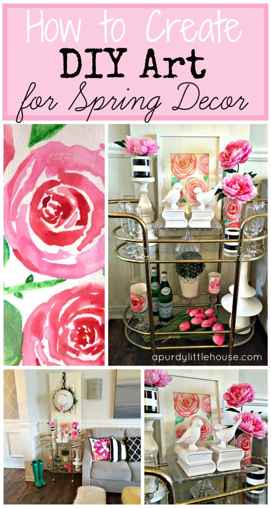 How to create DIY art for Spring Decor for the 30 day flip Watercolour Roses for beginners and how to stage a barcart for Spring or Mother's Day Decor apurdylittlehouse.com