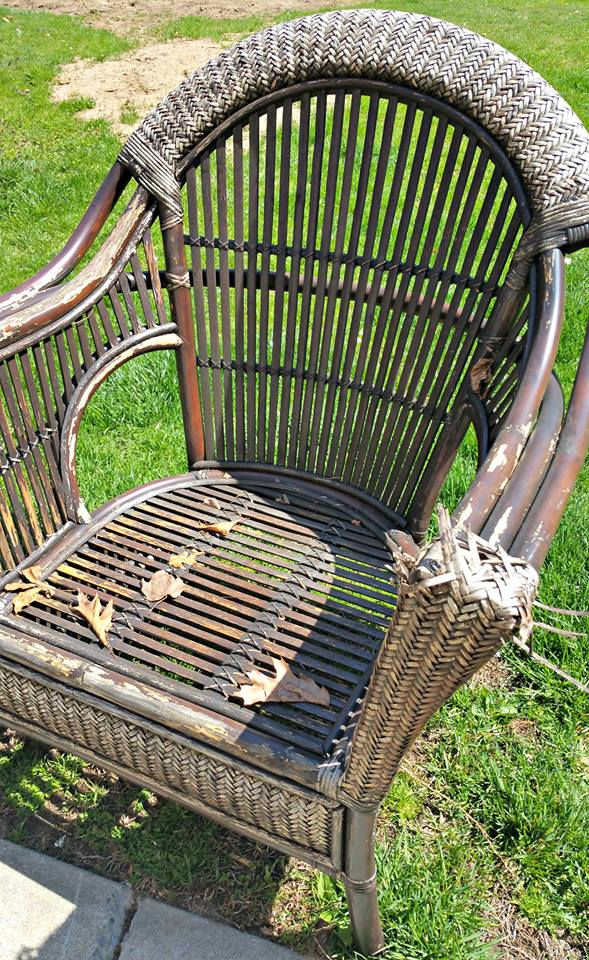 Pier one wicker chair refresh upcycle