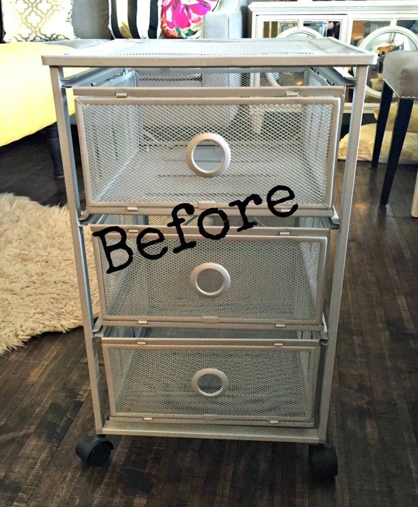 Transforming or Upcyling a Metal Storage Cart into a Stylish Printer Stand that can also double as paper and craft storage apurdylittlehouse.com