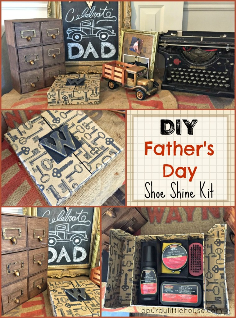 Father's Day Shoe Shine Gift. I got all DIY up in here for Father's Day, where I transformed this girly box into a unique shoe shine kit as a gift. apurdylittlehouse.com