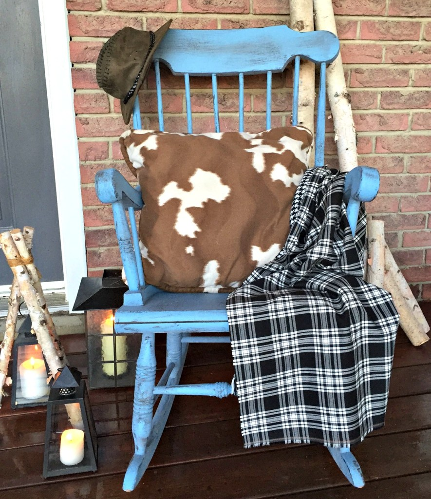 Farmhouse Distressed Rocking Chair / Rocker Makeover and Milk Paint 101 with Old Fashioned Milk Paint for the #FFFC at apurdylittlehouse.com
