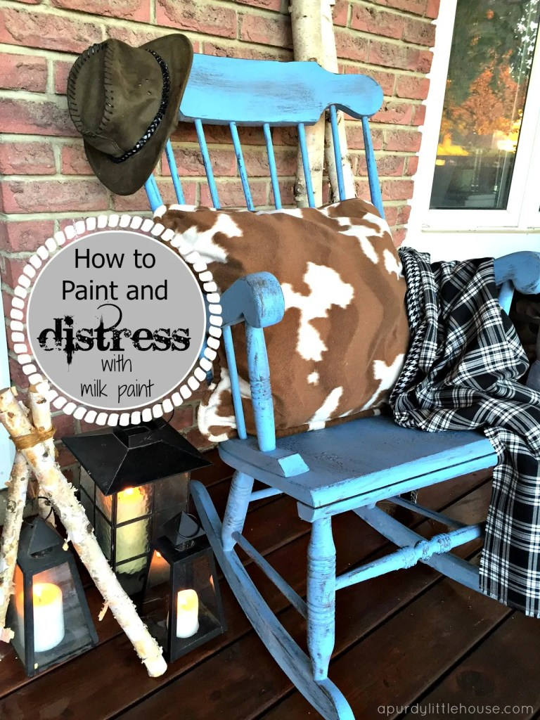 Farmhouse Distressed Rocker / Rocking Chair Makeover and milk paint 101 using Old Fashioned Milk Paint for the #FFFC at apurdylittlehouse.com
