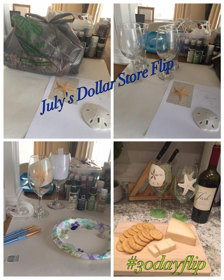 Dollar Store Flip for the #30dayflip Challenge. These beachy wine glasses were decorated with coastal accents and make for a fun DIY gift idea