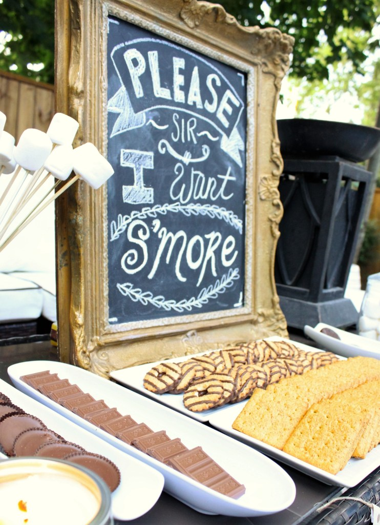 S'mores Bar for summer nights. How to set up a fun and unique smores bar for guests and family. The kids will love the variety of different s'mores choices at apurdylittlehouse.com