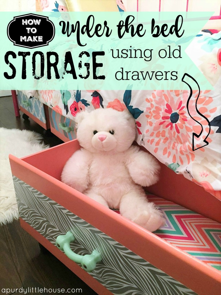 How to Make Under the Bed Storage using old drawers for kids rooms for the #FFFC Challenge at apurdylittlehouse.com