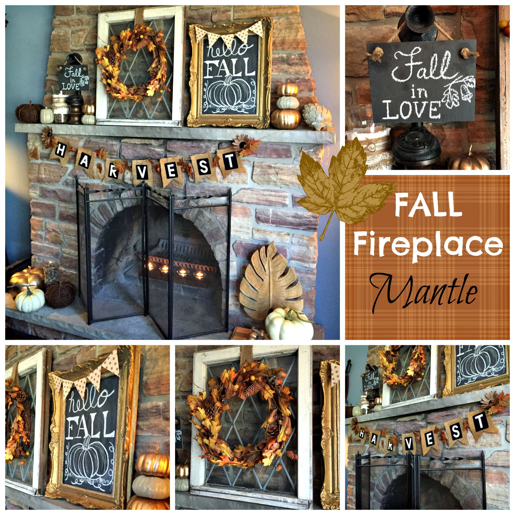 fall fireplace mantel a purdy little house