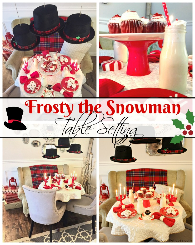 Frosty the Snowman Table Setting for Christmas kids table or a fun tea party for the young at heart. See all the details at apurdylittlehouse.com