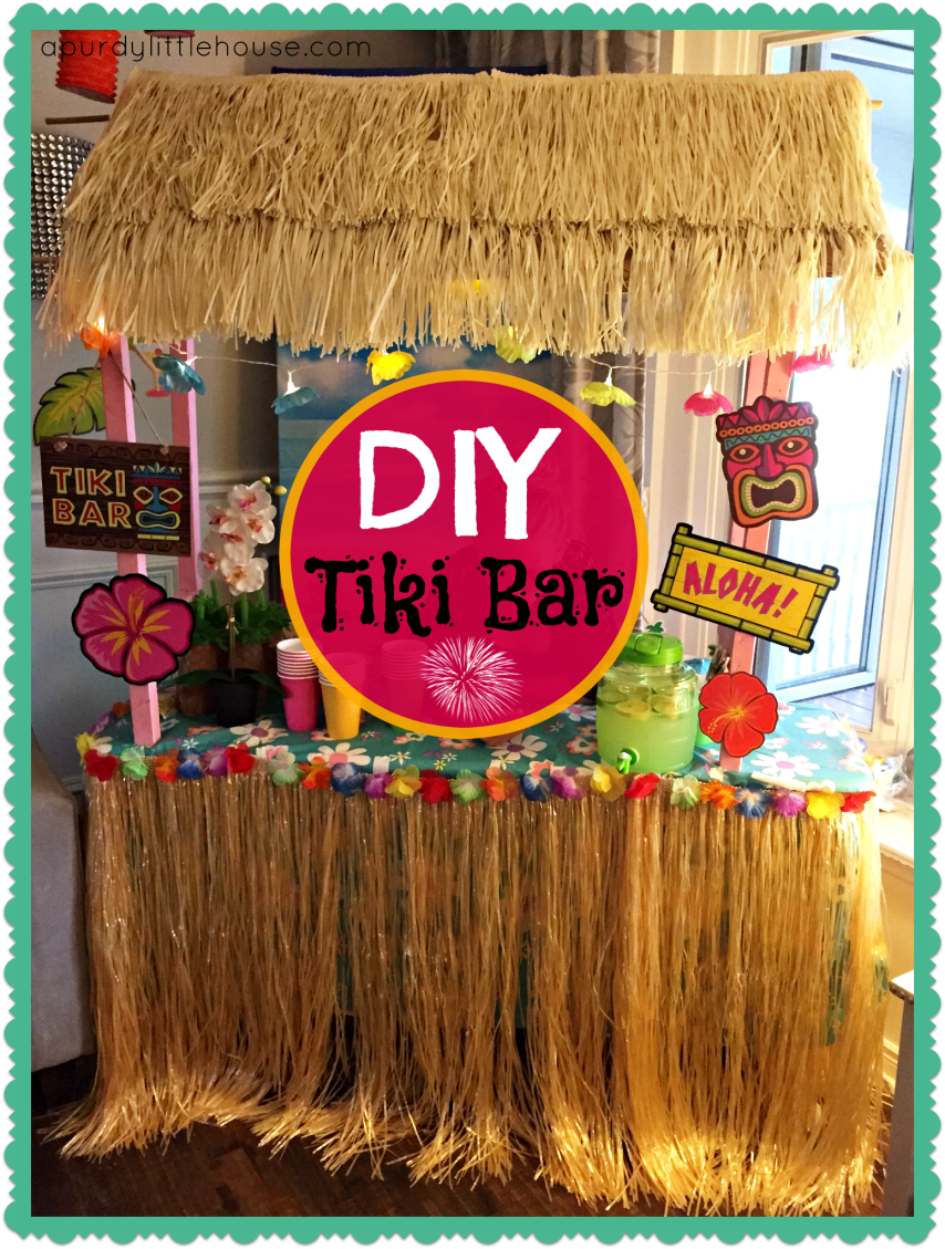 DIY Tiki Bar. Learn how to make your own tiki bar for your luau party at apurdylittlehouse.com