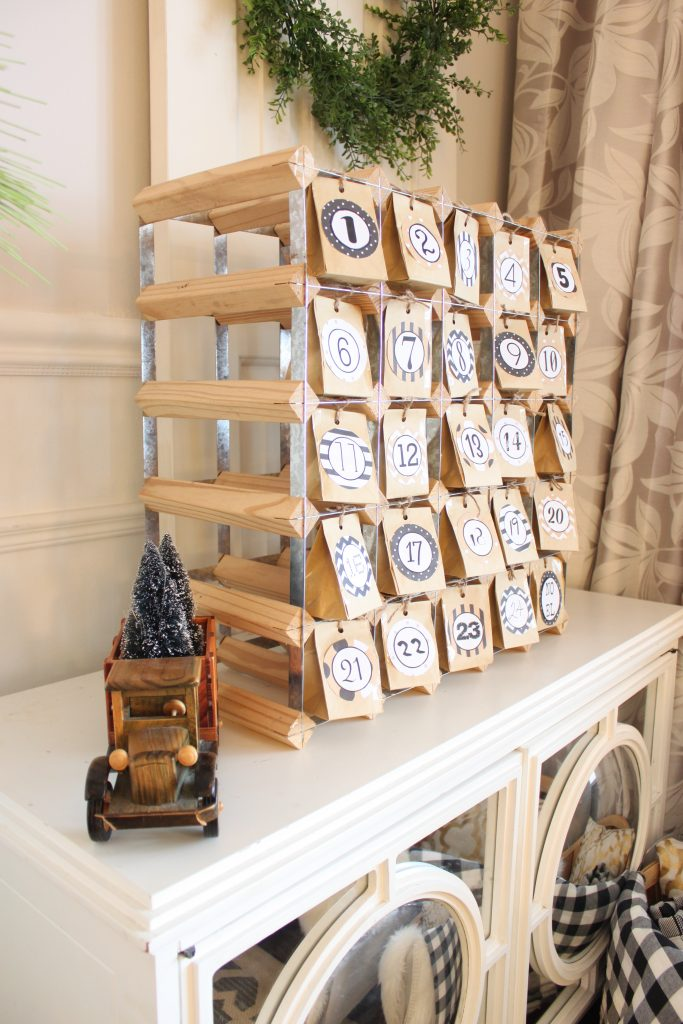 Christmas Home Tour and my DIY Advent Calendar I made from on old wine rack at apurdylittlehouse.com