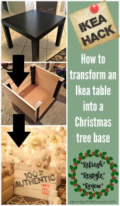 Ikea Hack - How I Turned an Ikea Side Table Into a Christmas Tree Base at apurdylittlehouse.com