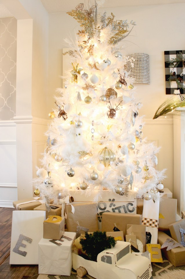 White Christmas Tree featuring metallic decorations for my Christmas Home Tour at apurdylittlehouse.com