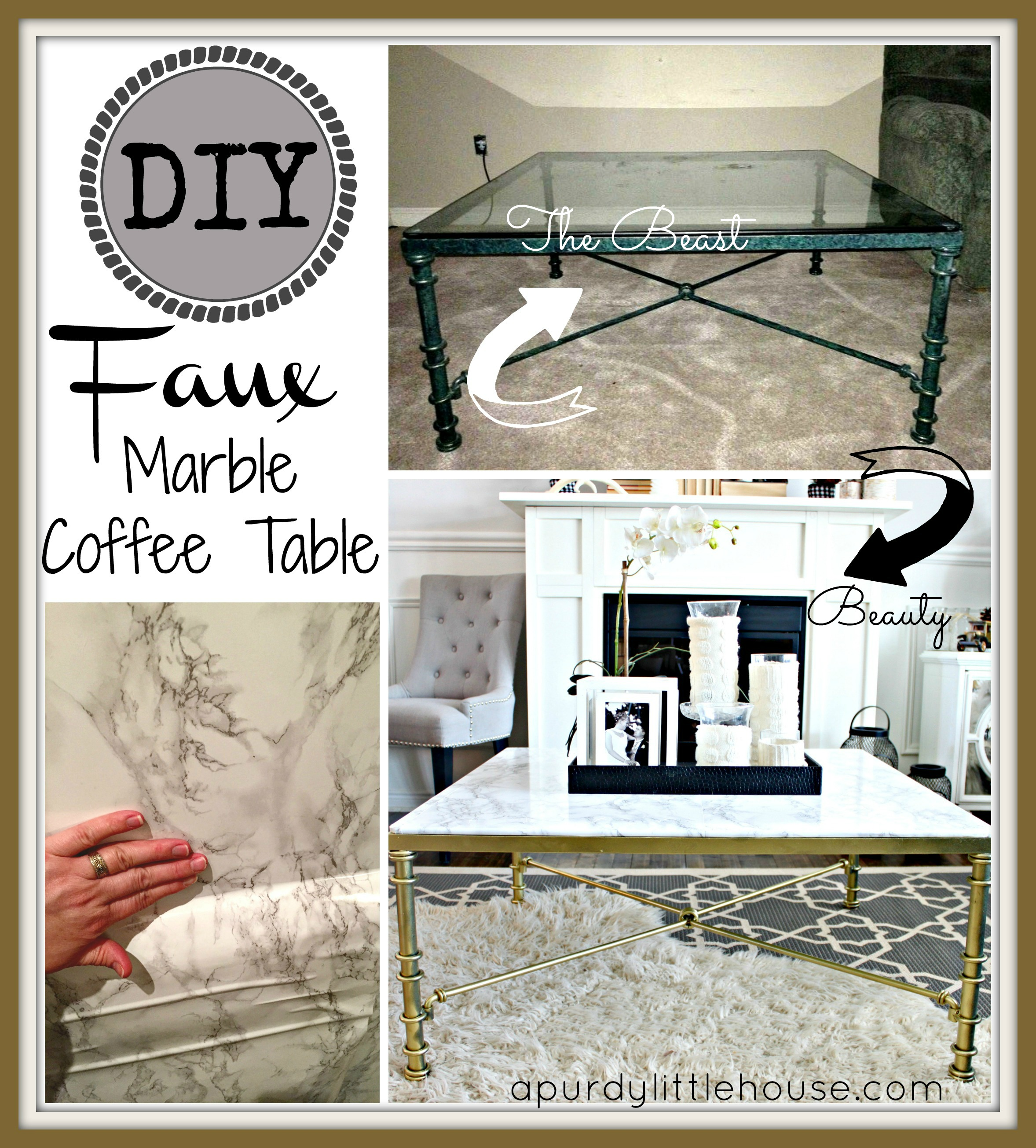 DIY Faux Marble Coffee Table. See how I transformed this out dated glass coffee table into a marble showpiece using faux marble