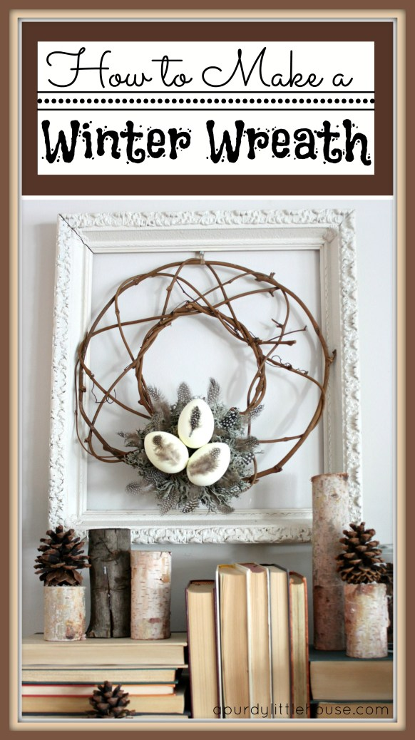 How to Make an easy DIY Winter Wreath for your Winter fireplace mantel. See all the details on the blog