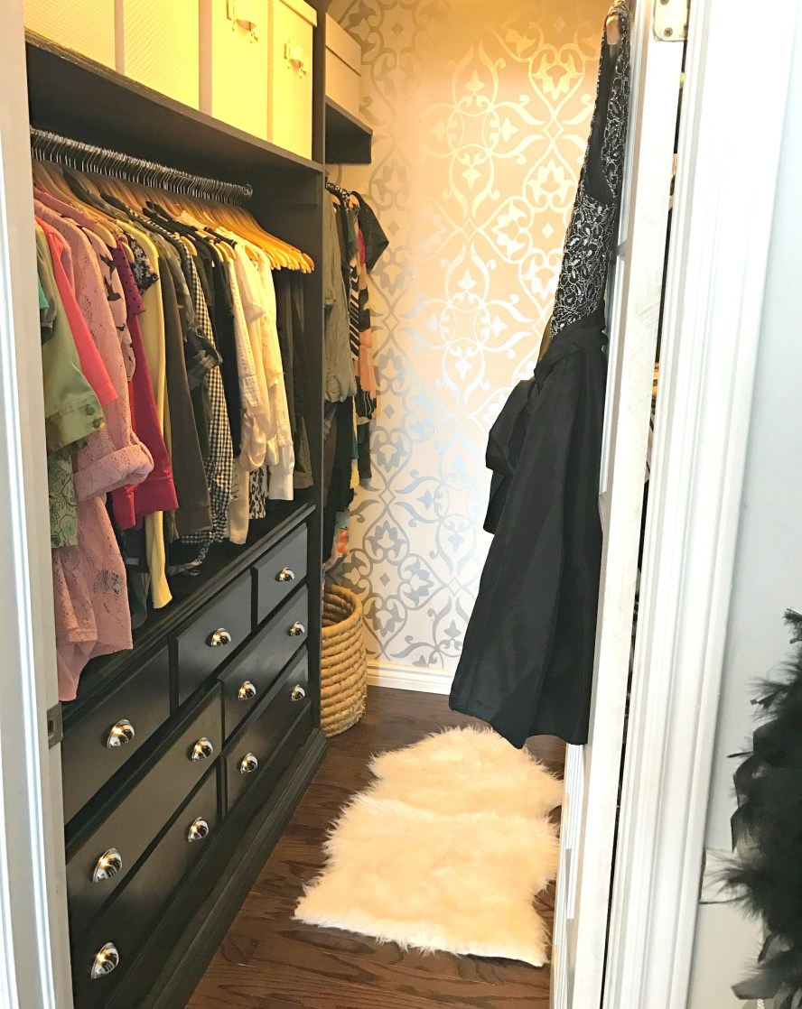 Master Bedroom Closet Makeover with custom built ins and shimmering wallpaperwas one of the Best DIY Projects of 2016 at apurdylittlehouse.com