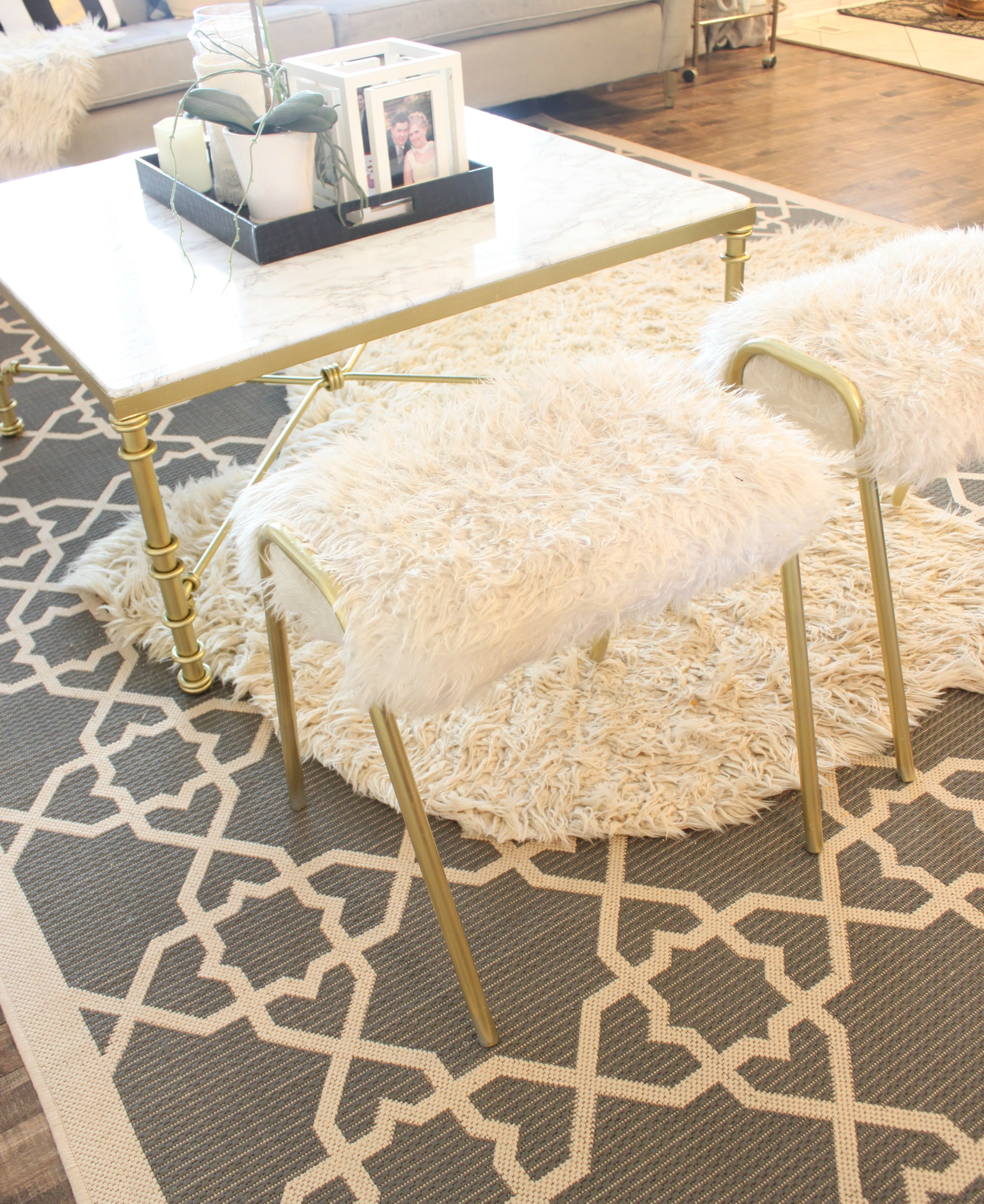 How To Reupholster An Old Stool Using Fuzzy Fun Fur And Gold Spray Paint.  See