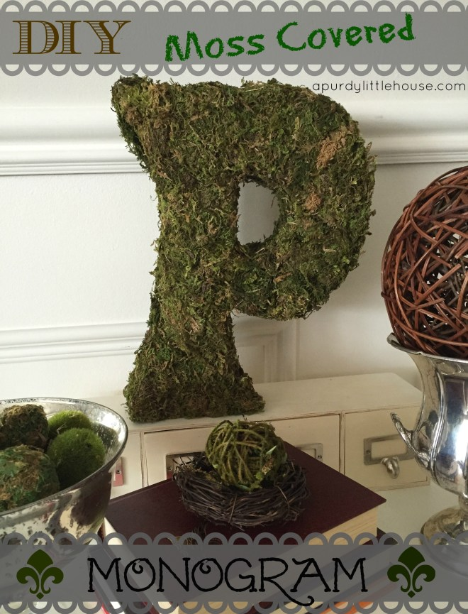 DIY Moss Covered Monogram. See how I made this easy monogram using a cereal box, duct tape, craft paint and moss from the dollar store. Get all the details at apurdylittlehouse.com