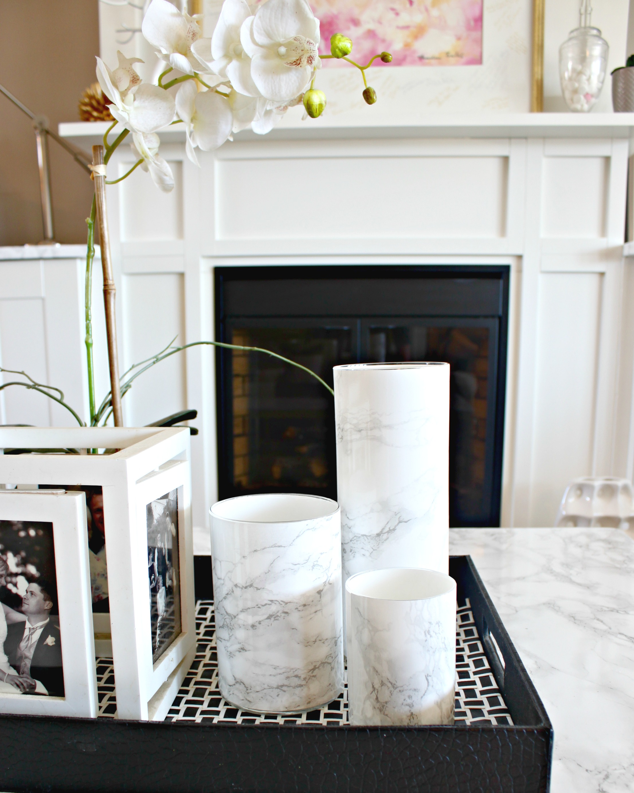 Faux Marble Vase. Find out how to make a fake marble vase using a glass vase and marble contact paper.