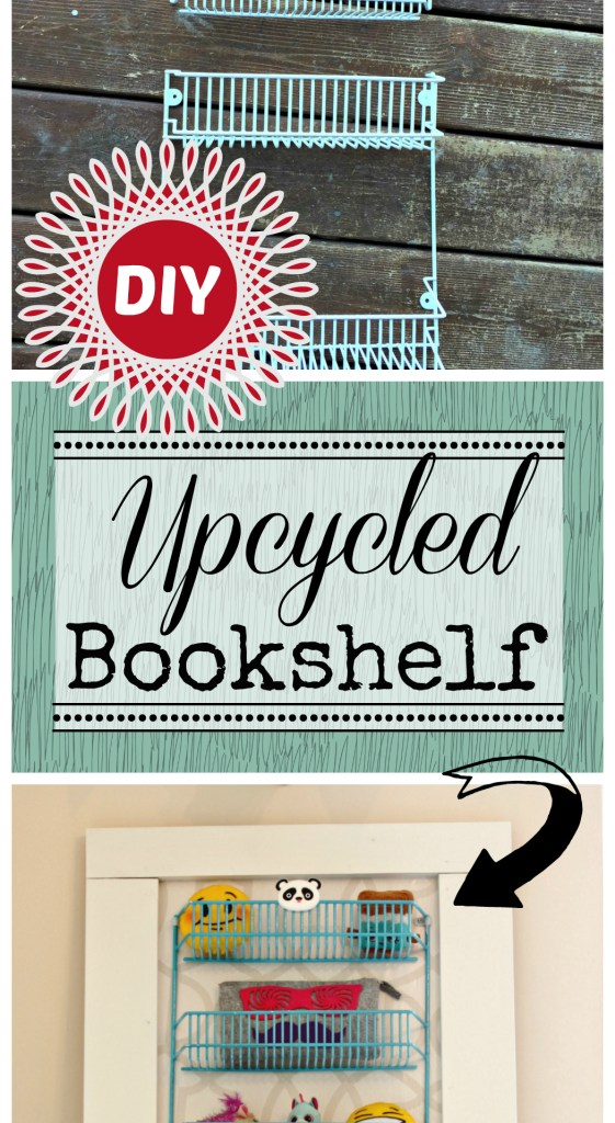 Upcycled Bookshelf Project. See how I transformed this wire spice rack into a kids one of a kind custom bookshelf.