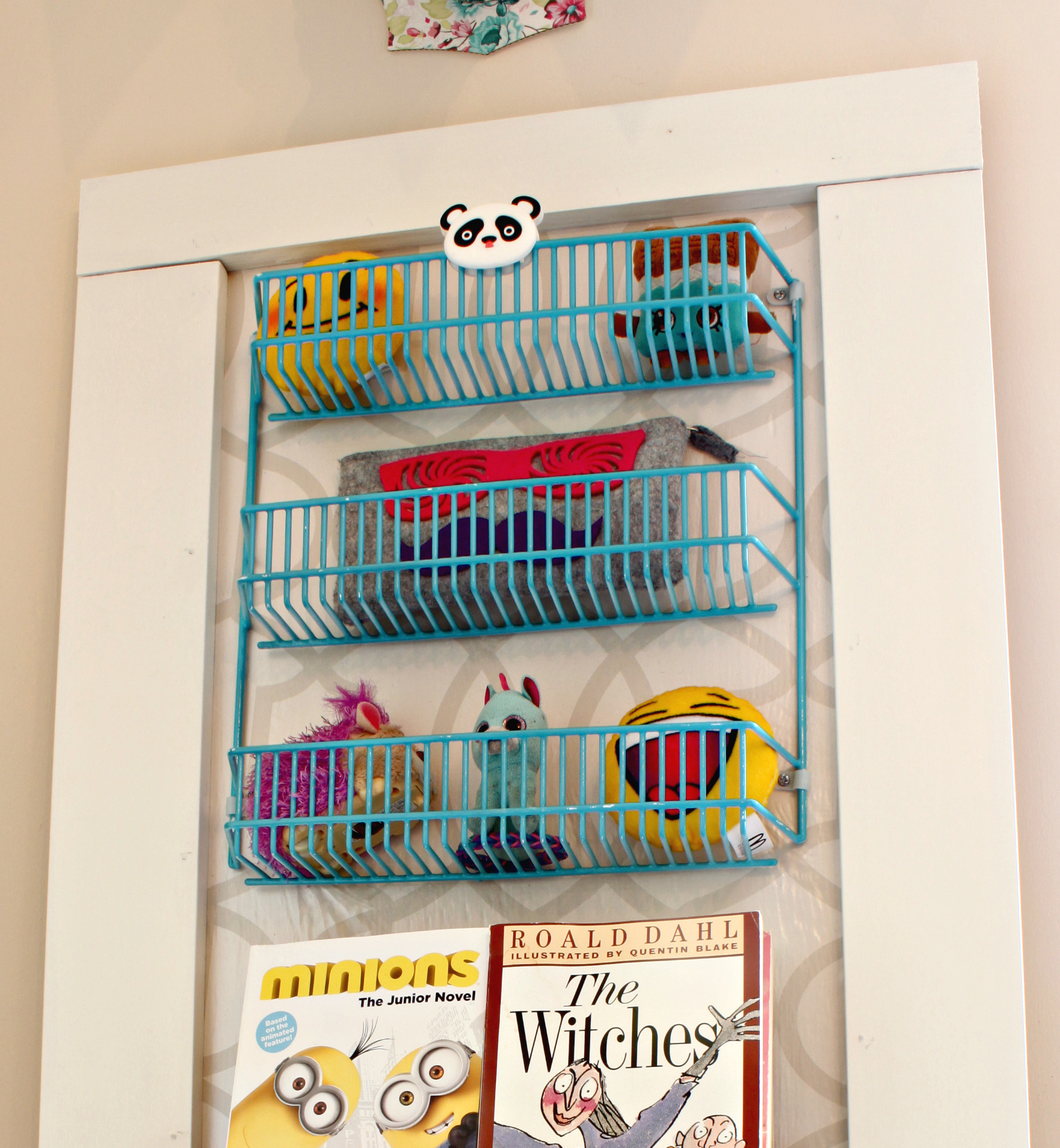 Upcycled Bookshelf. See how I transformed this wire spice rack into a kids one of a kind bookshelf.