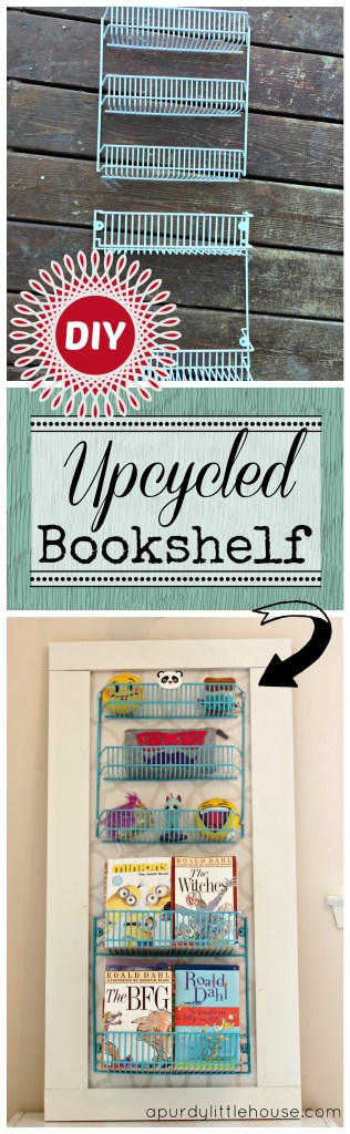 Upcycled Bookshelf. See how I transformed this wire spice rack into a kids one of a kind custom bookshelf.