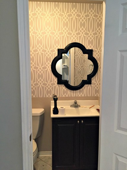 Powder Room Update for the $100 Room Challenge and how to apply wallpaper the easy way