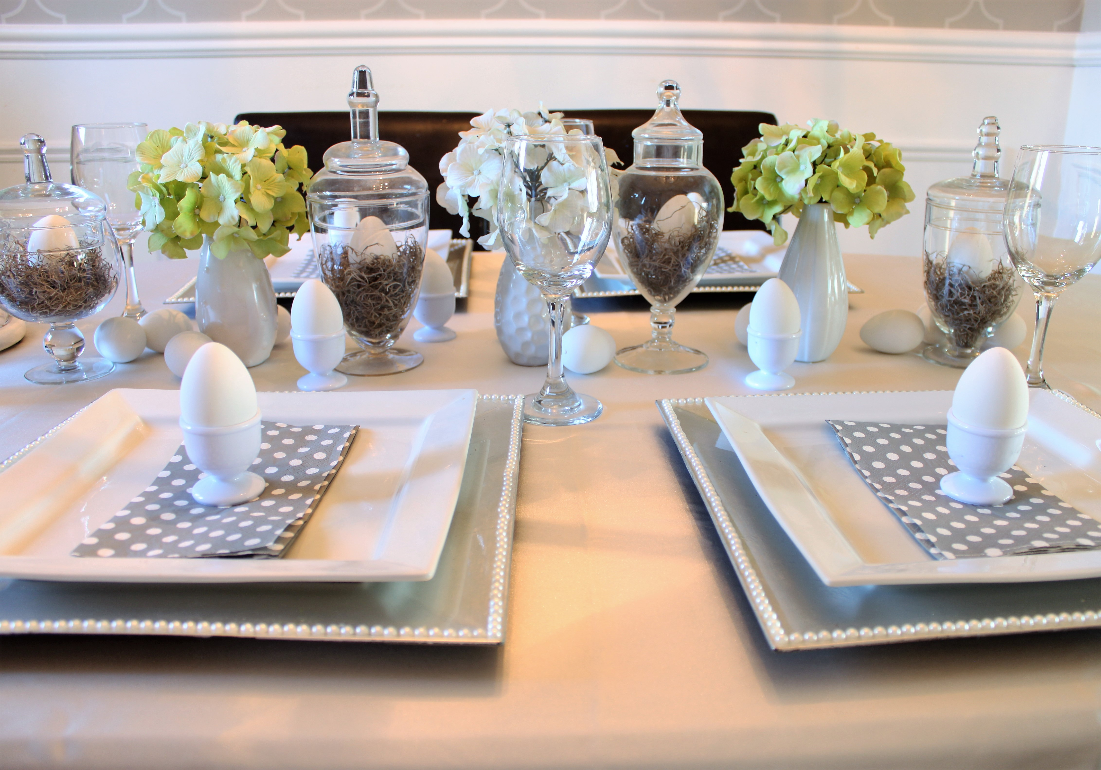 Easter Table Setting Using Thrift Store Apothecary Jars - a purdy ...