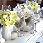 Easter Table Setting Using Thrift Store Apothecary Jars