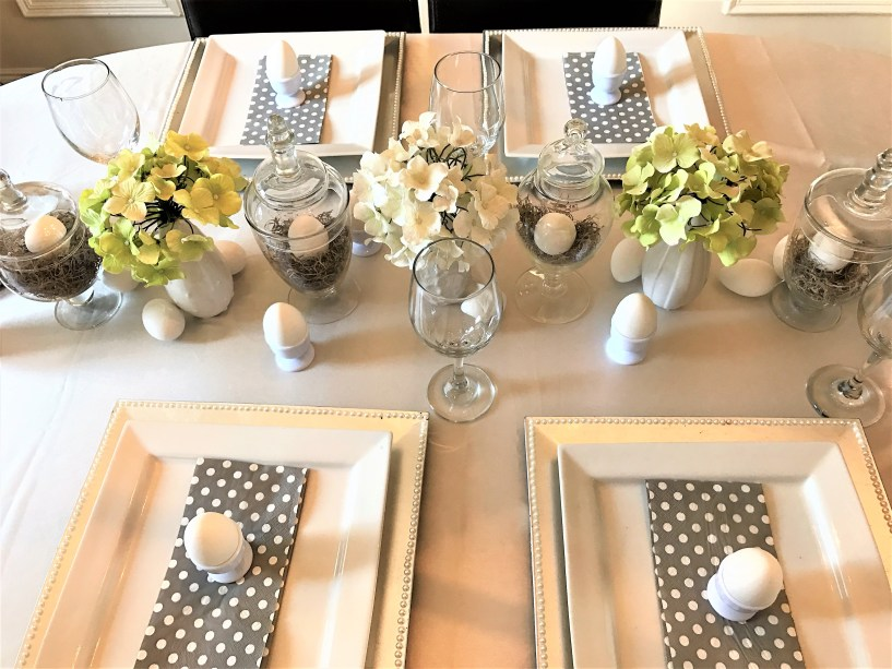 Easter Table Setting using thrift store apothecary jars at apurdylittlehouse.com