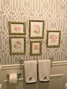 Powder Room Update - Week 4. See how to create DIY watercolour art using gold leaf as an accent at apurdylittlehouse.com