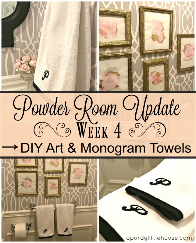 Powder Room Update - Week 4. DIY Art and Monogram Towels at apurdylittlehouse.com
