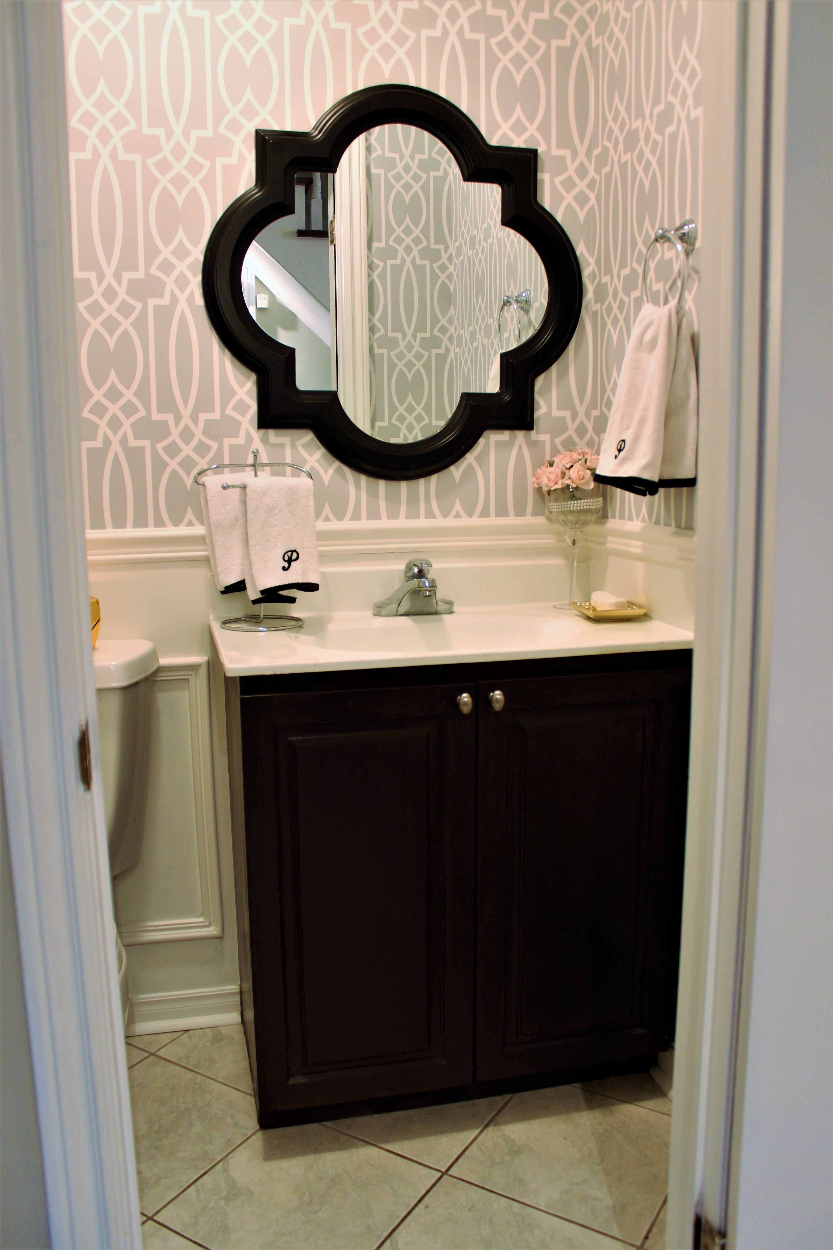 Powder Room Update   Week 5 Final Reveal. Wallpaper In Powder Room, Grey And