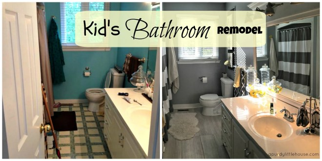 Kid's Bathroom Remodel. See how to transform an entire space using new flooring, paint and decor.