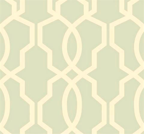 Girl's Bedroom Makeover Mint Trellis Wallpaper