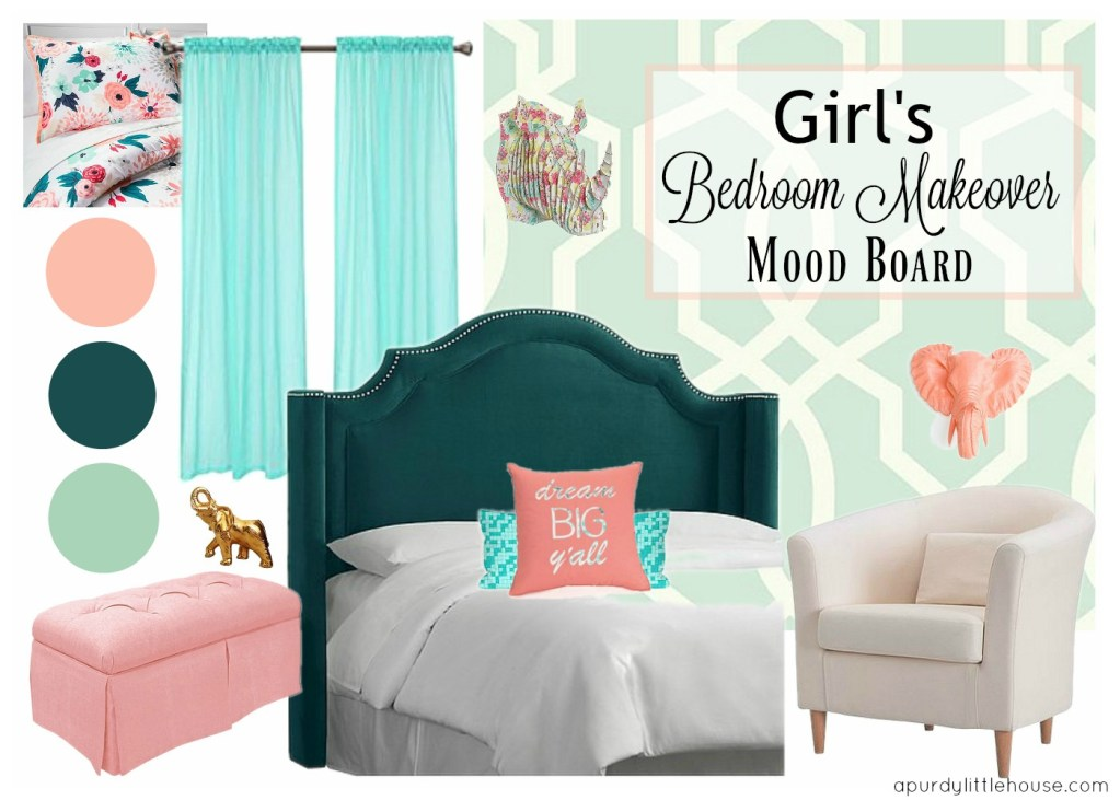 Girls-Bedroom-Makeover-Mood-Board-in-coral-mint-and-jewel-toned-green-at-apurdylittlehouse.com