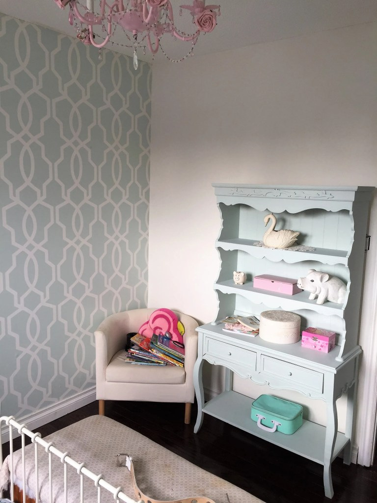 Girls Bedroom Makeover for the one room challenge. Preppy, Stylish and Modern Room with mint wallpaper at apurdylittlehouse.com