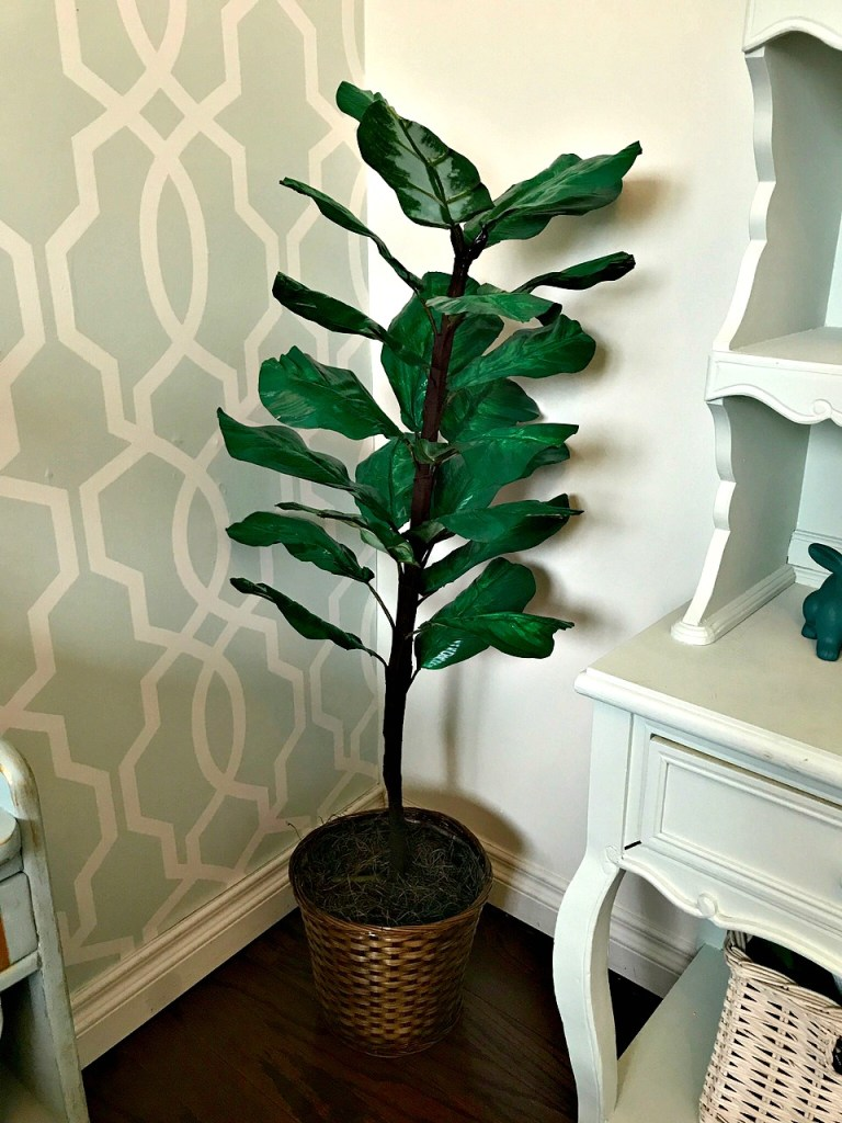 DIY Fiddle Fig Tree from a cheap garage sale fake plant. See all the details at apurdylittlehouse.com