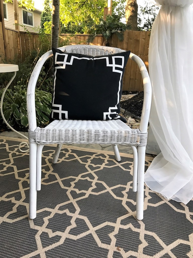 Pool Cabana furnished with thrift store finds