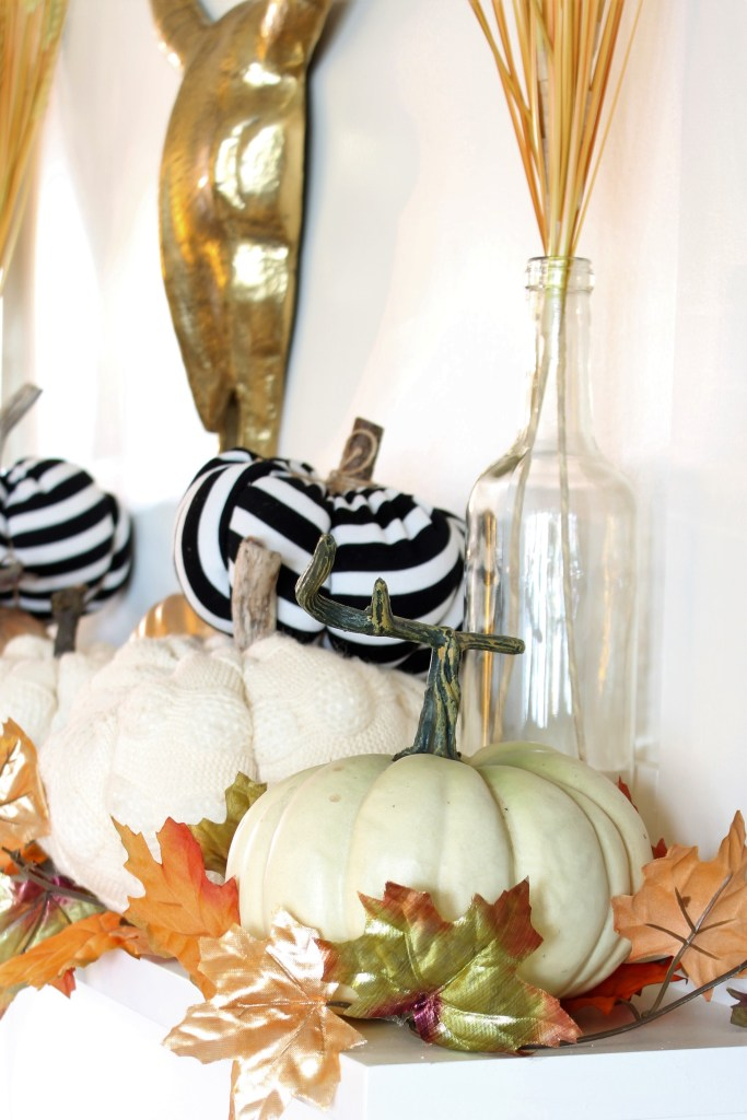 Fall Home Tour Fireplace Mantel with neutrals and black and white