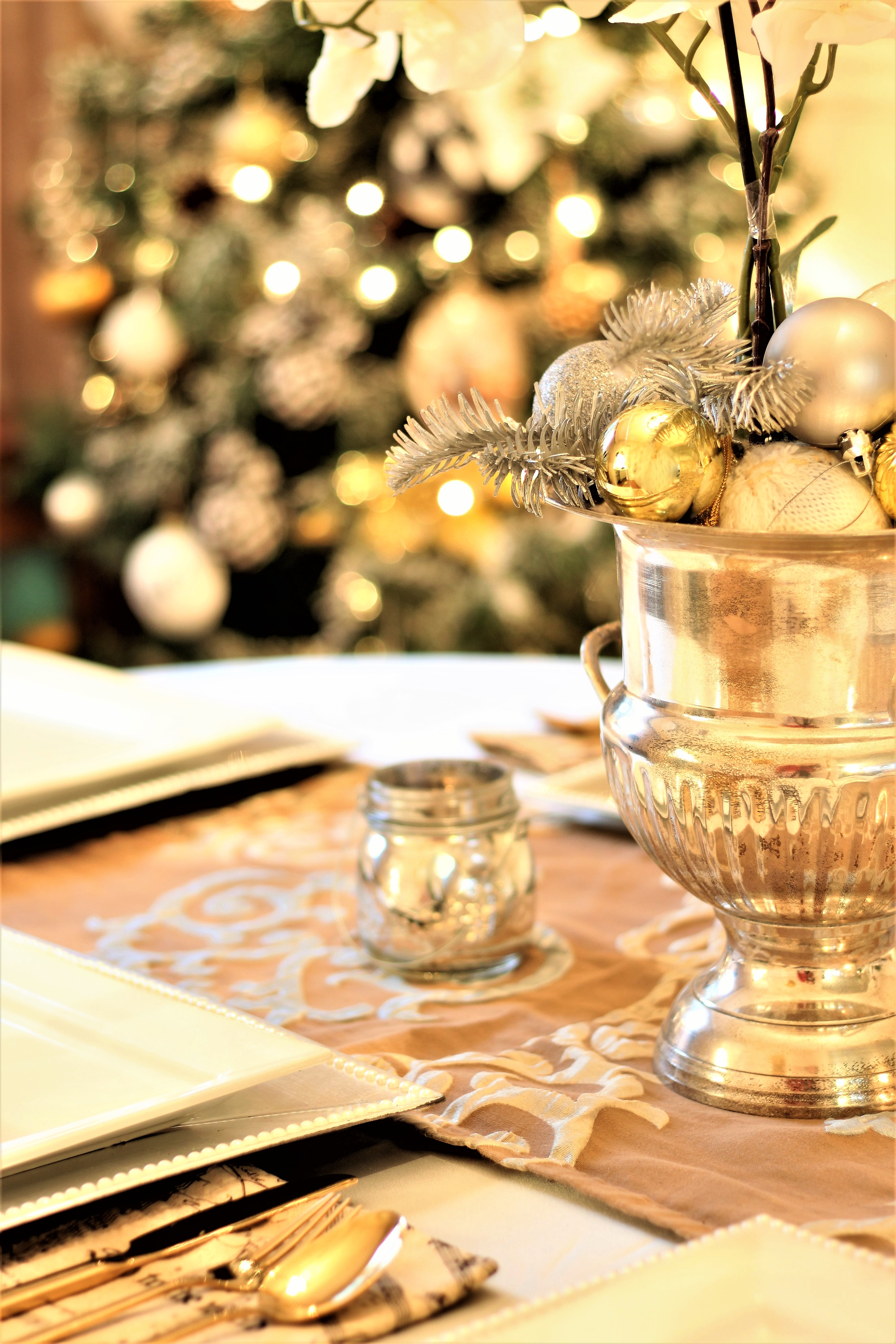 Neutral Christmas Home Tour Decor Champagne chiller as table decor